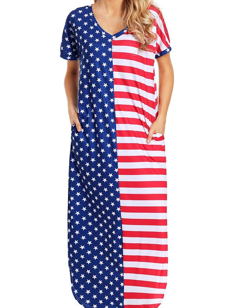 The Stars and Stripes V-Neck Pocket Maxi Dress