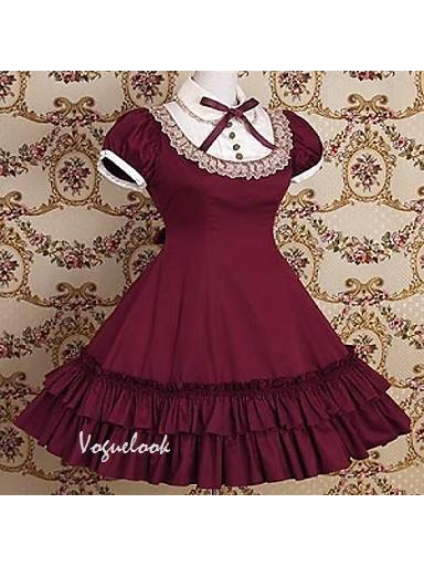 retro doll collar lace bow puff sleeve short sleeve School Lolita Dress