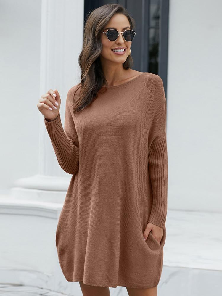 Pullover Knit Oversized Batwing Sleeve Mid-length Sweater Dress