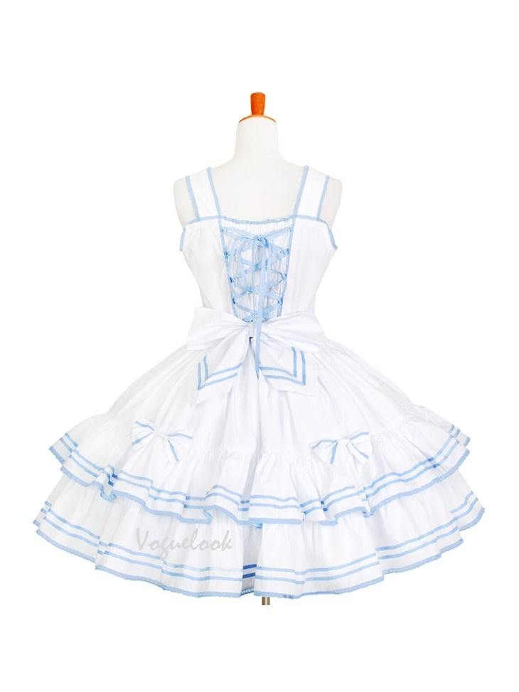 Navy Collar Sailor Suit Waist Ruffled Puff Tutu School Lolita Dress