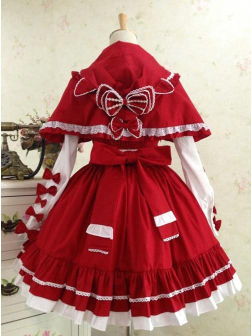 Little Red Riding Hood Cat Ear Shawl Maid Outfit Bowknot Sweet Lolita Dress Set