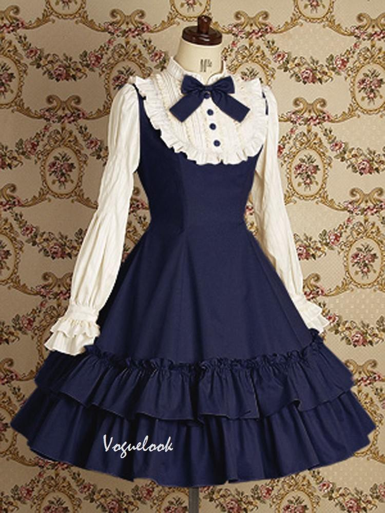 Lolita Gothic long-sleeved cotton School Lolita Dresses