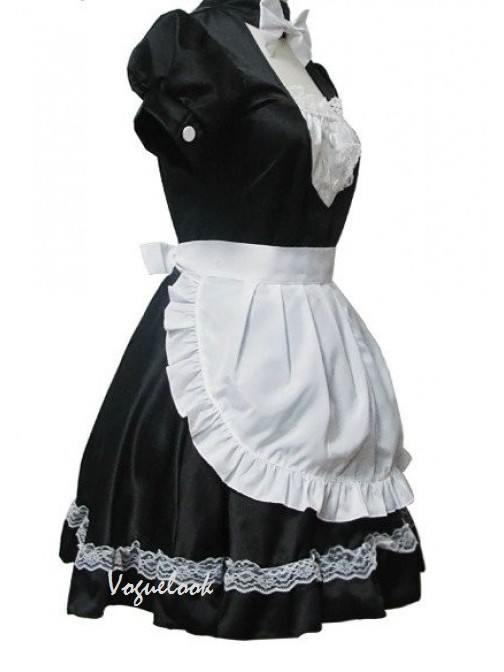 Black Short Sleeves White apron Bowknot Lace Cotton Maid Lolita Cosplay Costume