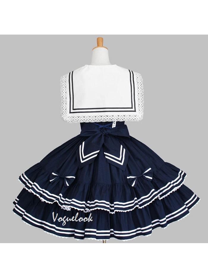 retro navy collar sailor suit bow lace tutu skirt School Lolita Dress