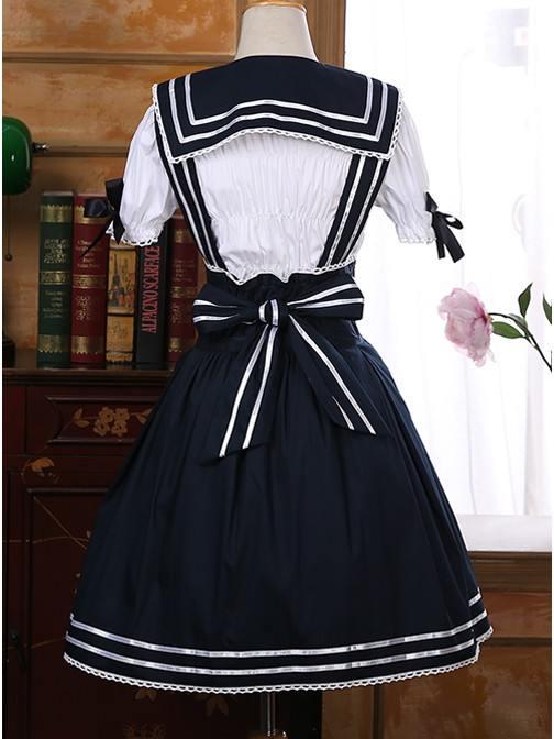 Angel\'s Feather Navy Style Short Sleeve School Lolita Dress Set