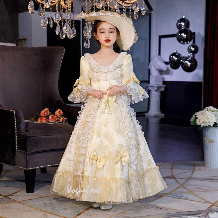 Christmas children court princess dress Bowknot Pleated hem Lolita Prom Dress