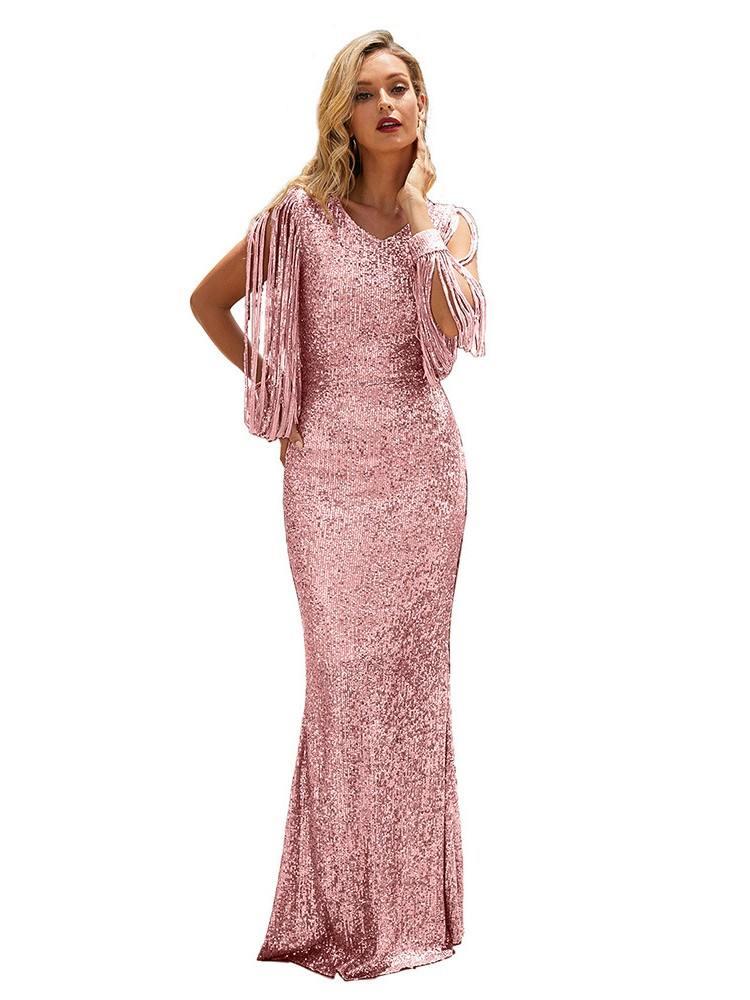 Pink Silver Sequin Fringe Sleeve Tassel Prom Maxi Dress