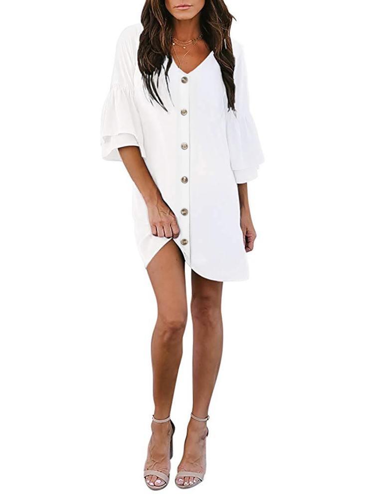 Summer Solid Color V Neck Buttoned Bell Sleeve Shift Shirt Dress