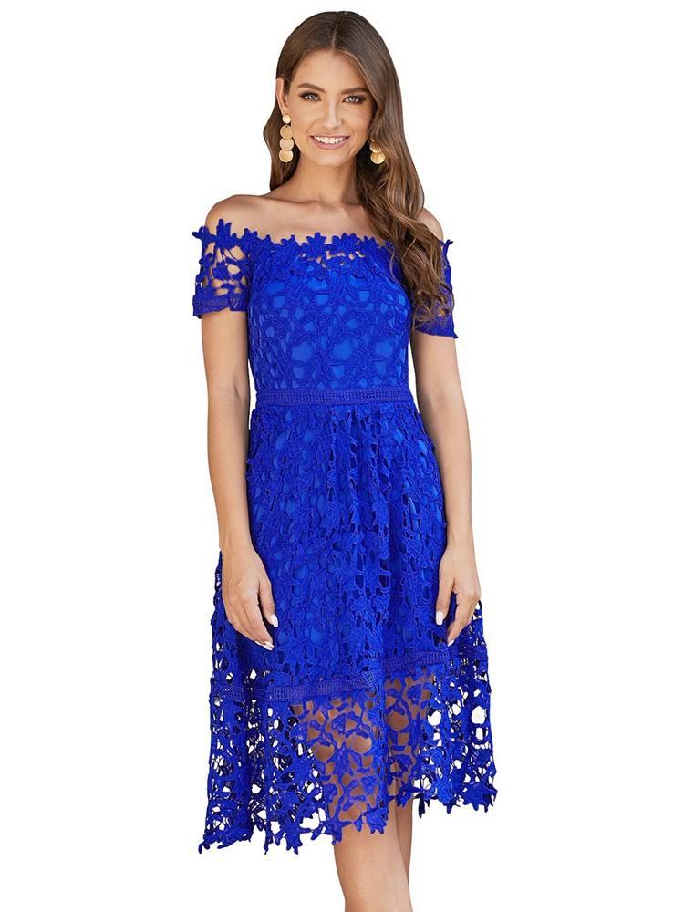Mini Off Shoulder Short Sleeve Sexy Crochet Prom Dress