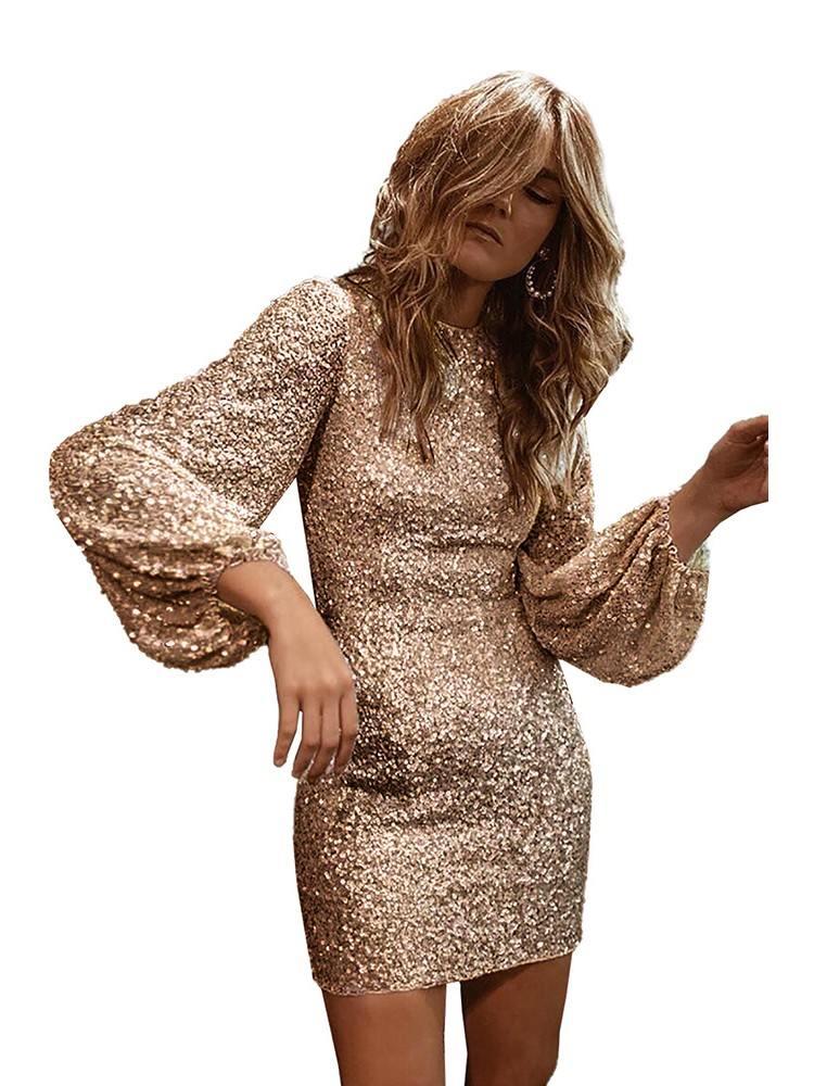 Sexy Lantern Sleeve Puffy Sequin Slim Mini Prom Dress