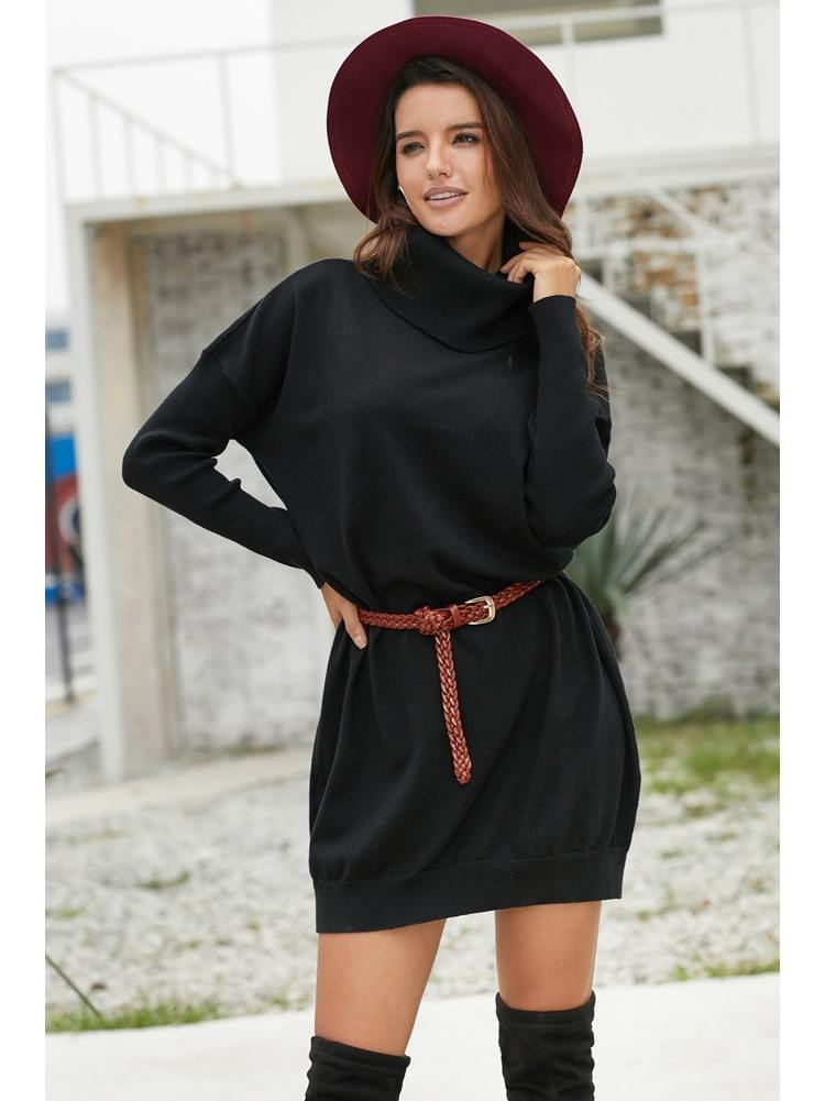 Winter Turtleneck Ribbed Cowl Neck Lightweight Knitted Sweater Dress