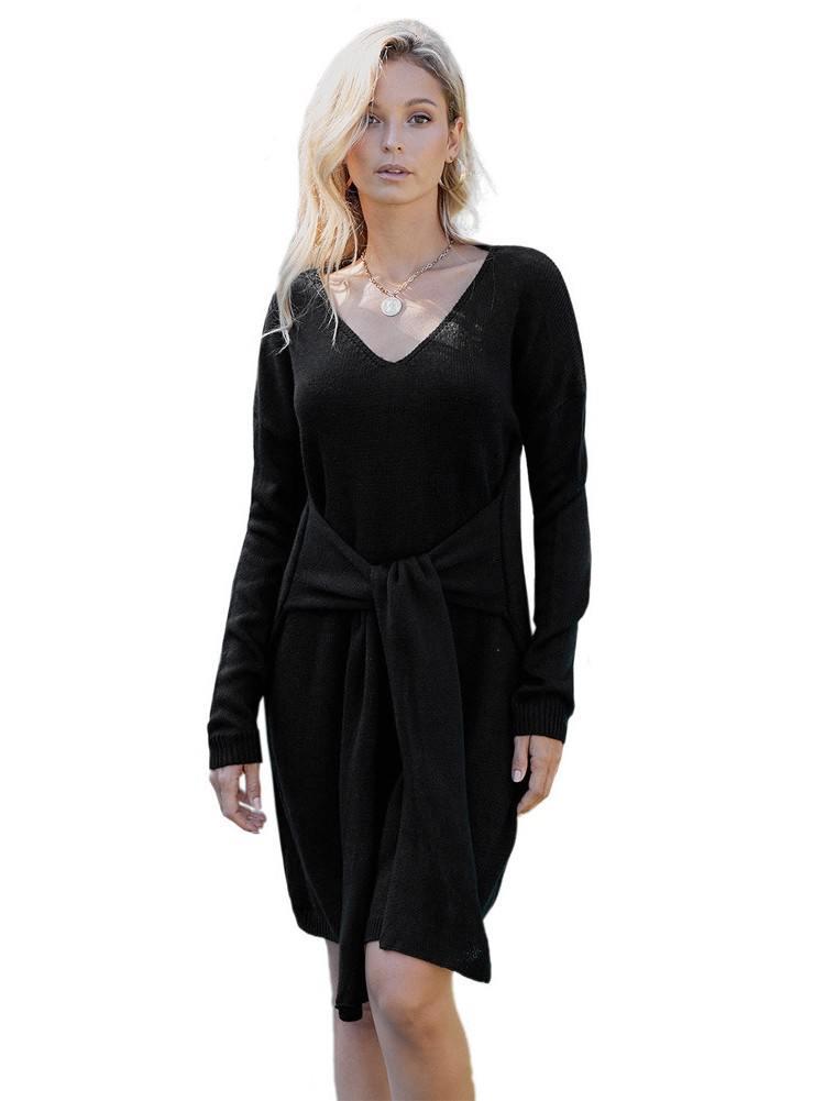 Women Mid-length Sweater Dont Let Me Go Tie Dress