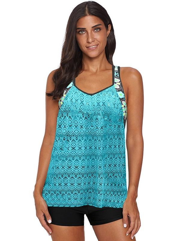 Plus Size Printed Patchwork Split Mesh Vest Tankini Top