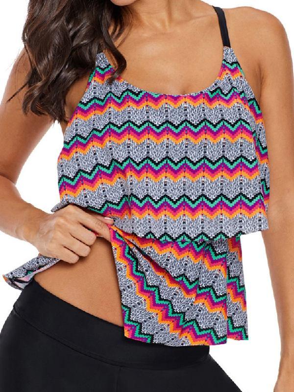 Tribal Print Ruffled Bikini Layered Frilly Layered Tankini Top