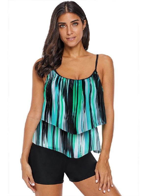 Layered Printing Belly-covering Spaghetti Strap Tankini Top