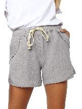 Gray Women Summer Tied Rope High Waist Loose Shorts