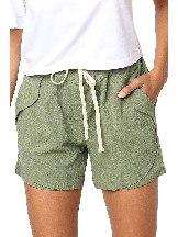 Green Women Summer Tied Rope High Waist Loose Shorts