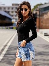 Vogue Casual Mid-waist Distressed Denim Shorts