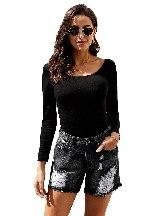 Black Vogue Casual Mid-waist Distressed Denim Shorts