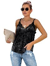 Sling Velvet Cami Loose-fitting LaceTank