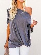 Pure Color Short-sleeved Off-The-Shoulder Slash Neck Casual Hem Twisted Fitting Top