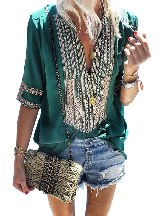 Retro Short-sleeved Front Embroidery Casual Blouse