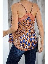Shoulder Strap Lace Leopard Print Cami Women Tank