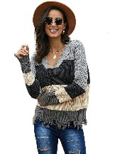 Autumn Winter Knit Colorblock Distressed Long-sleeved Frayed Edge Loose Sweater