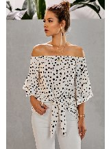 Polka Dot Calf-Length Sleeve Off Shoulder Knotted Hem Top