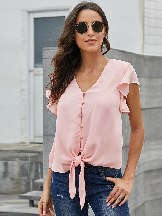 Women Summer Single-breasted Hem Tie Knot Forever Tonight Top