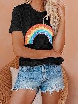Women Summer Pot Of Gold Heathered Rainbow Tee