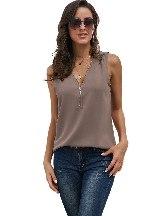 Summer Sleeveless Zip Neckline Women Shirt Tank