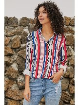 Single-breasted Striped Modern Women Shirt