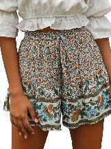 Casual Shorts Summer Boho Floral Print A-line Elastic Waist