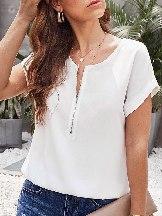 Women Short-sleeved Zipper Blouse