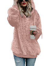 Women Winter Warm Solid Color Furry Pullover Hoodie