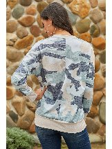 Spring Digital Camo Print Slim Plus Size Sweatshirt