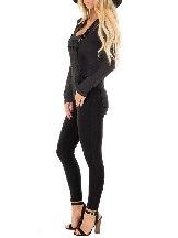 Women Solid Black Denim Jumpsuit Overall