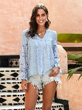 Women Embroidery Rekindle Eyelet Button Down Top