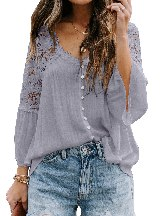 Women Stitching Crochet Lace Button Top