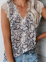 Summer Leopard Print Lace Short Sleeves Tee