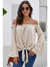 Flared Sleeves Off The Shoulder Tie Blouse