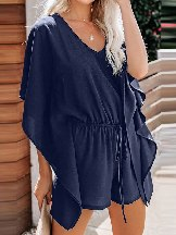 Women V-neck Ruffled Sleeve Casual Kimono Romper