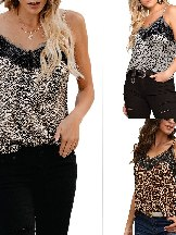 Sling Lace Leopard Print Sleeveless Sexy Low-cut Tank Top