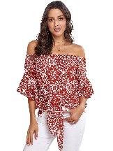 Feminine Bohemian Floral Print Off The Shoulder Blouse