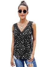 Sleeveless Print Tropical Love Women Small Lace Cami Tank