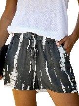 Gray Women Casual Tie Dye Drawstring Shorts