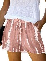 Pink Women Casual Tie Dye Drawstring Shorts
