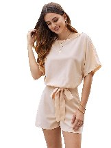 Solid Color Over The Top Belted Casual Playsuit