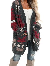 Moraga Pocketed Length Style Knit Aztec Cardigan